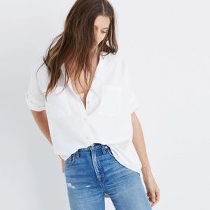 New Madewell White Cotton Courier Shirt